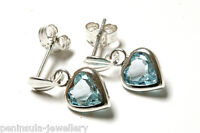 Sterling Silver Blue Topaz Heart Drop Earrings Gift Boxed Made in UK