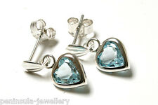Sterling Silver Blue Topaz Heart Drop Earrings Gift Boxed Made in UK Christmas