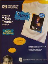 New Hp Hewlett Packard Inkjet T Shirt Transfer Iron On Sheets Pack Of 10