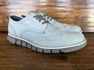 Mens Cole Haan ZeroGrand Wingtip Fashion Sneakers Gray Canvas Size 7.5 M