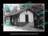 OLD LARGE HISTORIC PHOTO OF ROMNEY INDIANA, THE RAILROAD DEPOT STATION c1940