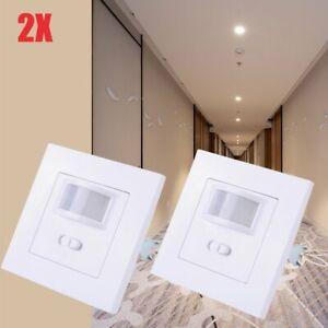 2x PIR-Bewegungsmelder LED Sensor Schalter 140° Infrarot Lichtschalter Unterputz