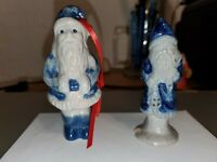 "1991 Rowe Pottery Works 3.5"" Santa Claus Lantern Figurine - cobalt salt glazed"
