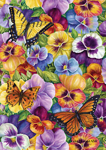 Toland Pansy and Butterfly 28 x 40 Spring Flower Floral House Flag