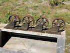 """4 Antique Iron Mill Cart Wheels, Each SWIVEL, 6"""" Dia x 1 1/2""""W ~ 7 1/4""""H"""