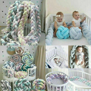 Infant Plush Crib Baby Bedding Bed Cot Braid Pillow Pad Protector Safe Home-UK