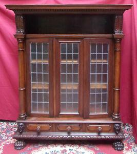 Librery Bibilothek Bookcase 3 Panels First Half '900 Style Renaissance Carved