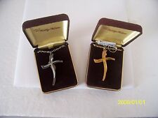 """Kelly Waters Pewter Religious Cross Pendant Necklaces  goldtone-silvertone 23""""L"""