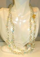 """NOS Tags VENDOME 2 tier Faceted Clear Crystal bead 26"""" Necklace 2j 68"""
