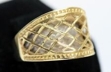 Unique 14K WHITE &YELLOW GOLD Woven Open Dome Ring: SIZE 6 - 5.9 Grams