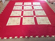 Quilt All Hand Made Embroidered And Hand Quilted Red -White Big & Beautiful 93""