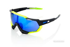 100% SPEEDTRAP Cycling UV Sunglasses BLACK/NEON YELLOW BLUE MIRROR LENS