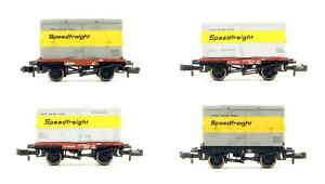 GRAHAM FARISH 'N' GAUGE RAKE OF 4 CONFLAT WAGONS & CONTAINERS *UNBOXED*
