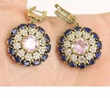 Antique Vintage Topaz, Sapphires and Amethyst 925 Silver Earrings. (25Gram).
