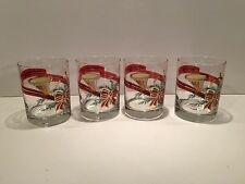 Four (4) Georges Briard French Horn Red Ribbon and Red Bow Glasses