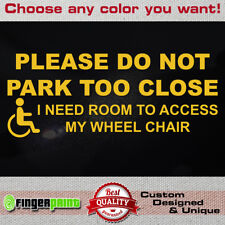 DISABLED WARNING sticker die cut decal wheelchair parking disability car sign