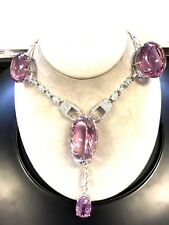 New Huge Custom VVS-Flawless 515 ct Kunzite diamond Platinum necklace Choker