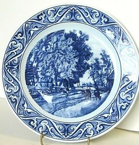 """Old Petrus Regout ZOMER 9 1/8"""" Plate Flow Blue Transferware Maastricht Holland"""
