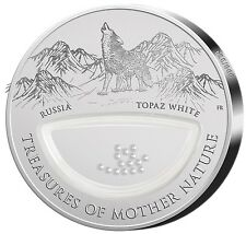 "2012 $1 TREASURES OF MOTHER NATURE ""WHITE TOPAZ"" Russia PROOF Silver Coin."