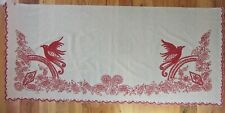 Vintage Antique Chainstitch Redwork Birds Turkey Red Pillow Sham with Flaws
