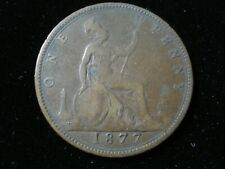 Great Britain 1877 Penny Coin Queen Victoria Antique Good Details