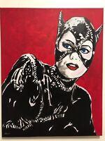 Michelle Pfeiffer Catwoman hand painted fan art portrait signed canvas Batman