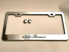 1Pc Alfa Romeo Chrome Stainless Steel License Plate Frame Tag Holder with Caps