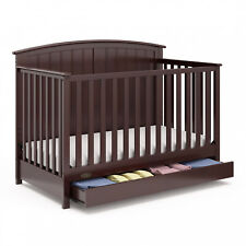 4-in-1  Espresso Convertible Crib W/ Drawer Unisex Home Nursery Furniture