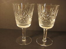 """Set Of 2 Large Cut Clear Crystal Water/Wine Goblet Glasses, 7 1/2"""" T X 3 3/4"""" D"""