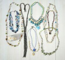Glass Bead Necklace Lot Napier Multi-Strand Heart Pendant Boho Wire Cuff x10 Pc
