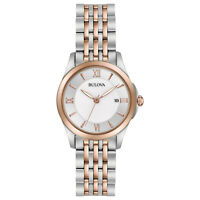 Bulova Women's  Quartz Mother of Pearl Dial Two-Tone Band 27mm Watch 98M125
