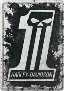 Nostalgic Type Metal Postcard Harley Davidson Motorcycle Bike Skull One License