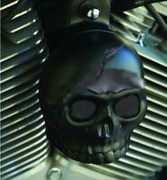couvre klaxon ornement tete de mort noir moto chopper harley skull horn cover LG