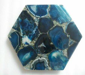 "12"" Blue Agate table Top S Natural semi precious stones Art home decor"
