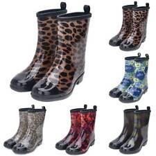 Women Wellies Floral Printed Rubber Waterproof Wellington Rain Boots Festival