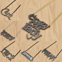 Dark Black Letter Halloween Necklace Pendant Chain Necklace Charm Party Jewelry