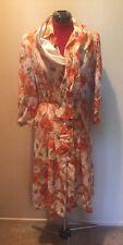Vintage Jean Louis Scherrer Boutique Paris Multi Color Floral Silk Dress Sz 38