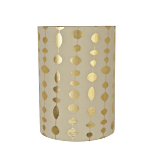 8 In. X 11 In. Beige And Gold Print Drum/Cylinder Lamp Shade