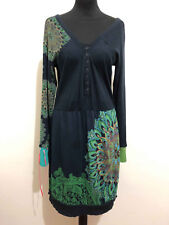 DESIGUAL Abito Vestito Donna Cotone Optical Cotton Woman Dress Sz.L - 46