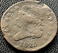 1825 Classic Head Half Cent 1/2 Cent Circulated 180° Rotated Dies #15461