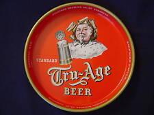"""TRU AGE BEER TRAY METAL STANDARD BREWING VINTAGE ADVERTISING 13 1/4"""" DIAMETER"""