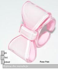 Bague ROSE Pale  NOEUD FLOT PAPILLON en Plastique NEUF