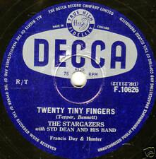 """1955 UK No4 THE STARGAZERS 78 """" TWENTY TINY FINGERS / AN OLD BEER BOTTLE """"  EX"""