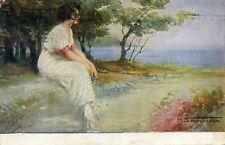 """"""" M. SANTINO : Donna in contemplazione firmata ( M. SANTINO )  """" Viaggiata 1925"""