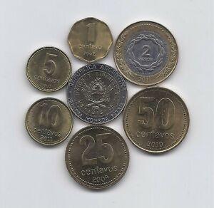 ARGENTINA 7 HIGH GRADE COINS SET 1992 -  2010 ONE CENT TO 2 PESOS TWO BIMETALLIC