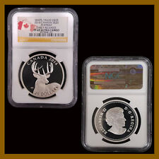 Canada 20 Dollars Silver Coin, 2014 Deer Portrait Early Releases NGC PF 69