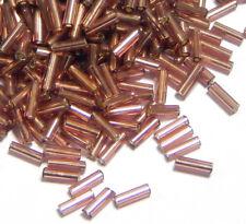100g Rocailles Stiftperlen 6 x 2 mm Silbereinzug Amethyst Lila Glas A612#100g