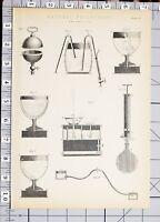 1886 Stampa Naturale Filosofia Pneumatica Vari Apparato Esperimenti