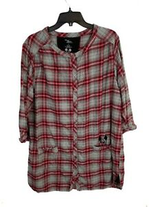 Disney Large Womens Luxe Gray Red Plaid Minnie Mouse Nightgown Pajama Sleepwear