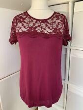 Dorothy Perkins BNWT Magenta Pink Floral Lace Shoulder Top - Size 16